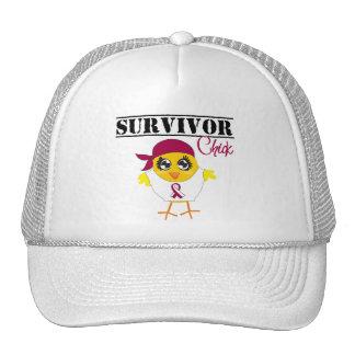 Throat Cancer Survivor Chick Trucker Hats