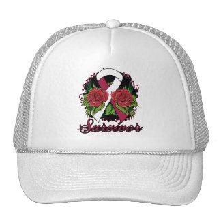 Throat Cancer Survivor Rose Grunge Tattoo Trucker Hats