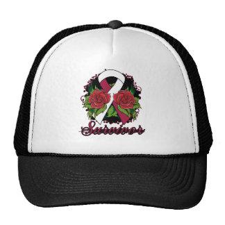 Throat Cancer Survivor Rose Grunge Tattoo Mesh Hat