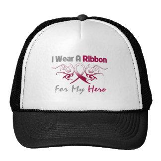 Throat Cancer Tribal Deco Ribbon Hero Mesh Hats