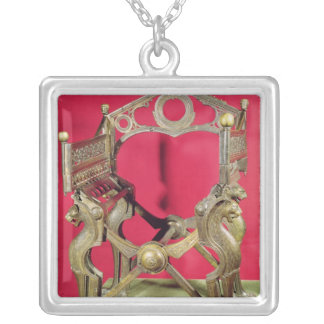Throne of King Dagobert, Silver Plated Necklace