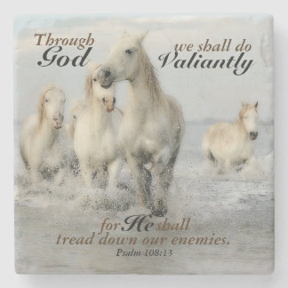Through God we shall do Valiantly Psalm 108 Horses Stone Beverage Coaster