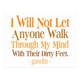 Through My Mind Quote Gandhi Postcard