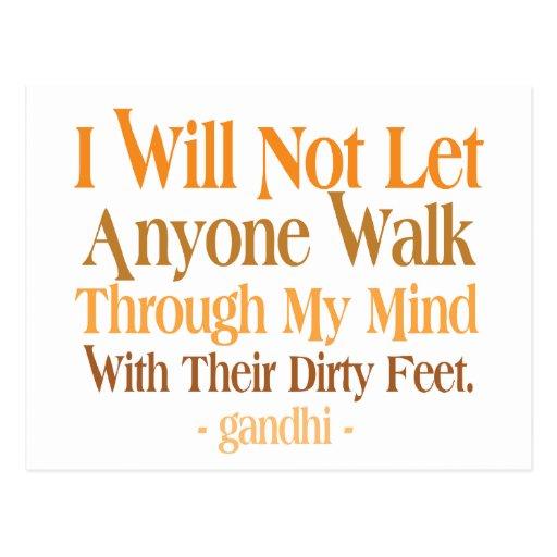 Through My Mind Quote Gandhi Postcards
