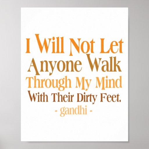 Through My Mind Quote Gandhi Print