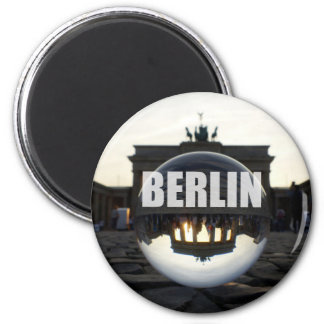 Through the crystal ball, Brandenburg gate 6 Cm Round Magnet