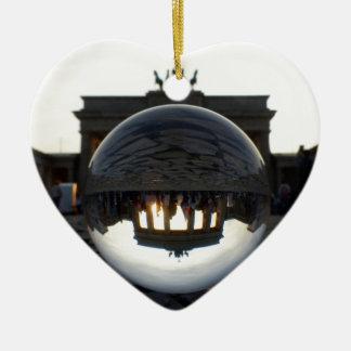 Through the crystal ball, Brandenburg Gate Ceramic Heart Decoration