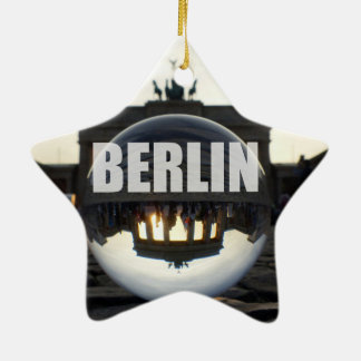 Through the crystal ball, Brandenburg gate Ceramic Star Decoration