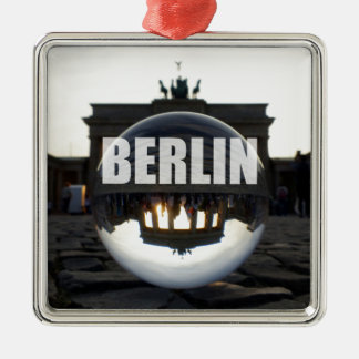 Through the crystal ball, Brandenburg Gate Silver-Colored Square Decoration