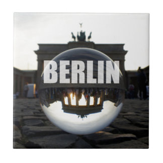 Through the crystal ball, Brandenburg Gate Small Square Tile