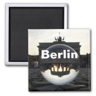 Through the crystal ball, Brandenburg Gate Square Magnet