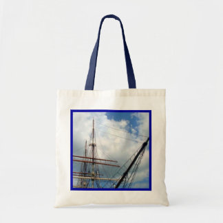 Through the Rigging with Blue Border Budget Tote Bag