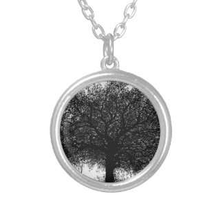 Through the Years Ink Illustration Round Pendant Necklace