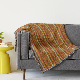 Throw Blanket - Autumn Leaves and Stripes