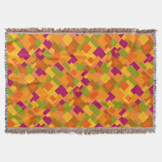 Throw Blanket Autumn Patch 2 Abstract Art Diag