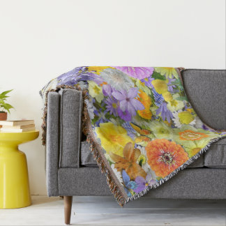 Throw Blanket - Flowers and Butterflies