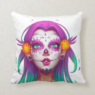 Throw Cushion 41 cm x 41 cm, Skull Face Girl