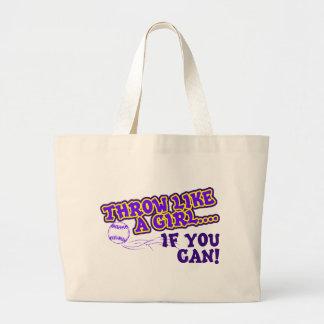 Throw Like A Girl if You Can Jumbo Tote Bag
