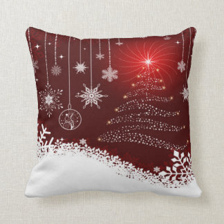 Throw Pillow/Snow Flakes and Christmas Tree Cushion