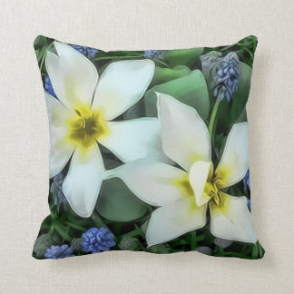 Throw Pillow - White Flowers Cushions