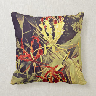 Throw pillow with Flame flower pattern