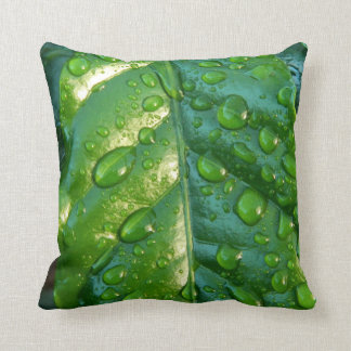 Throw Pillow with Leaf and Water and Drops