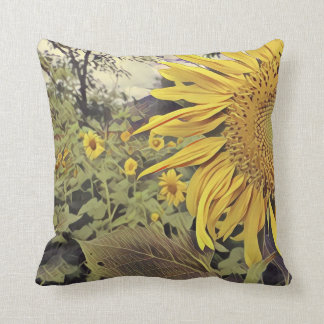 Throw pillow with sunflower design