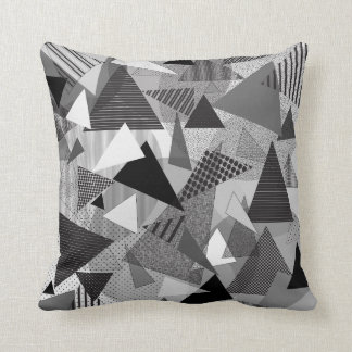 """Throw Pillow with """"Triangles BGW"""" design"""