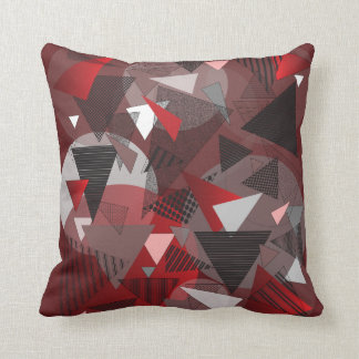 """Throw Pillow with """"Triangles Garnet"""" design"""