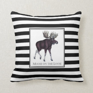Throw pillow with vintage moose graphic