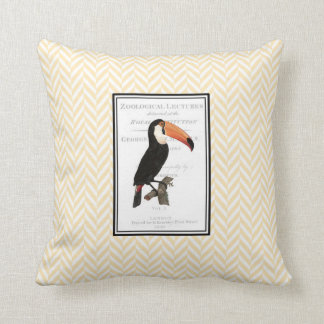 Throw pillow with vintage toucan illustration.