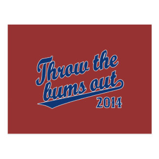 Throw the bums out 2014 blue postcard