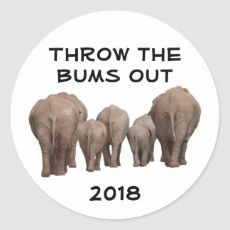 Throw the Bums Out Round Sticker