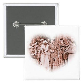 """Throwing Rice""  Vintage GI and Bride 15 Cm Square Badge"