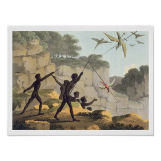 Throwing the Spear, aborigines hunting birds from Poster