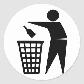 Throwing Trash Away (Bottle) Round Sticker