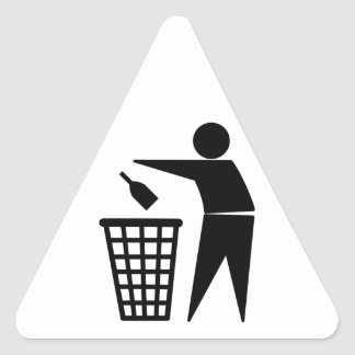 Throwing Trash Away (Bottle) Triangle Sticker