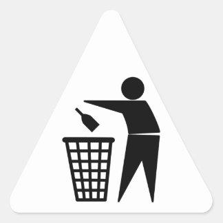 Throwing Trash Away (Bottle) Triangle Sticker