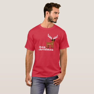 Thug Life Christmas pixel Reindeer Xmas Funny T-Shirt