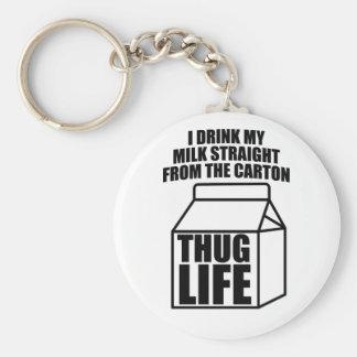 Thug Life Milk Carton Basic Round Button Key Ring
