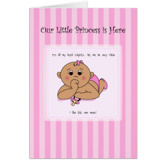 Thumb Sucking Baby Girl Announcement Greeting Card