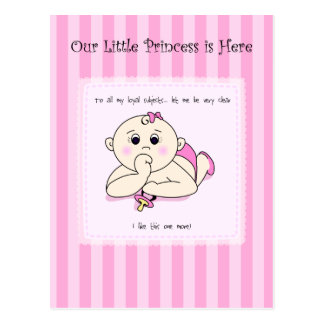 Thumb Sucking Baby Girl Announcement Postcard