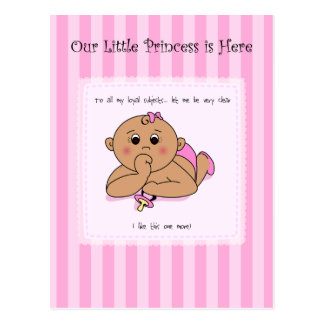 Thumb Sucking Baby Girl Announcement Post Cards