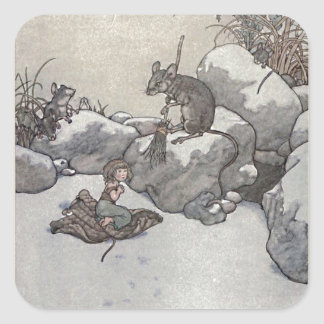 Thumbelina and Mouse Princess Winter Fairy Tale Square Sticker
