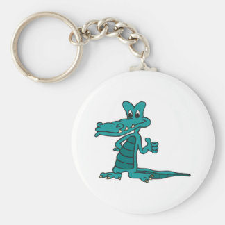 thumbs up alligator basic round button key ring
