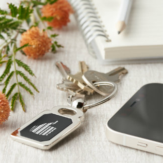 THUMBS UP BAR CODE Thumb Gesture Pattern Design Silver-Colored Rectangle Key Ring