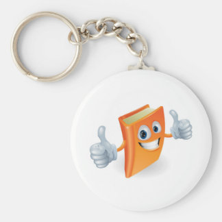 Thumbs up book cartoon character basic round button key ring