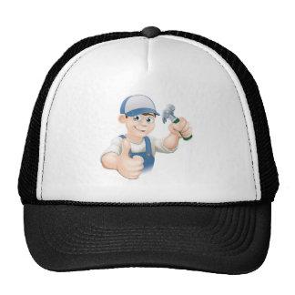 Thumbs up carpenter or builder mesh hat