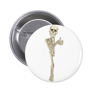 Thumbs Up Cartoon Halloween Sign Skeleton 6 Cm Round Badge
