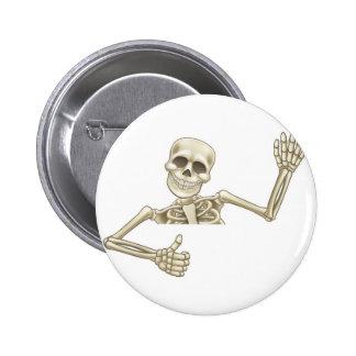 Thumbs Up Cartoon Halloween Skeleton 6 Cm Round Badge